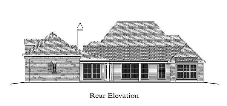 Colonial Florida Southern Rear Elevation of Plan 40315