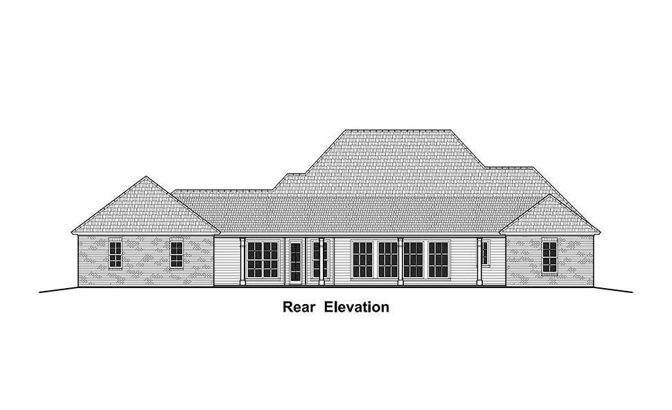 Colonial, Country, French Country, Southern House Plan 40335 with 3 Beds, 3 Baths, 2 Car Garage Rear Elevation