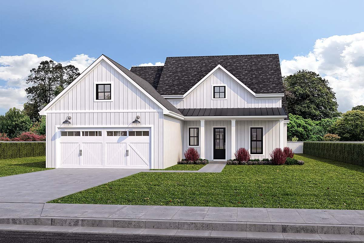 Farmhouse House Plan 40349 with 4 Beds, 2 Baths, 2 Car Garage Elevation