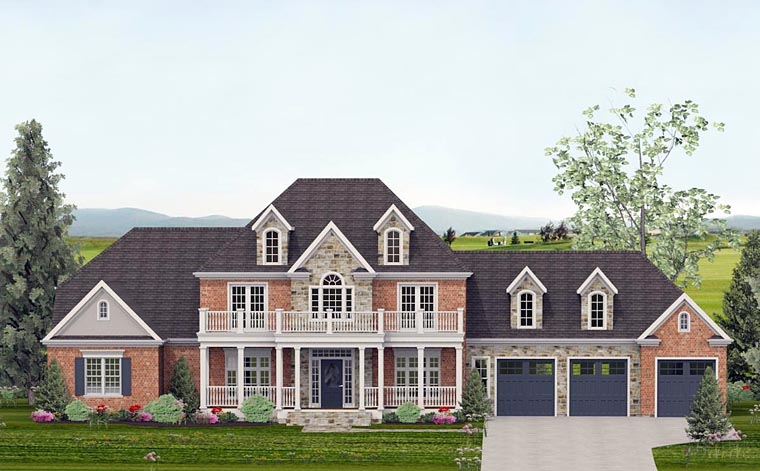 Colonial Country European Southern Traditional House Plan 40502 Elevation