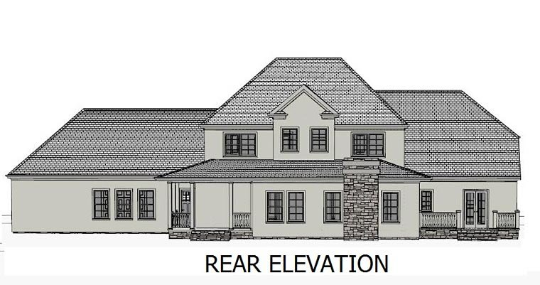 Colonial Country European Southern Traditional House Plan 40502 Rear Elevation