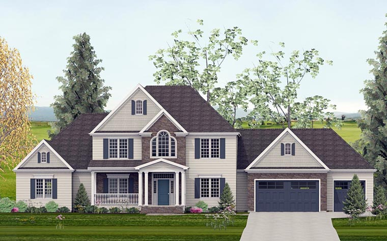 Colonial European Southern Traditional House Plan 40505 Elevation