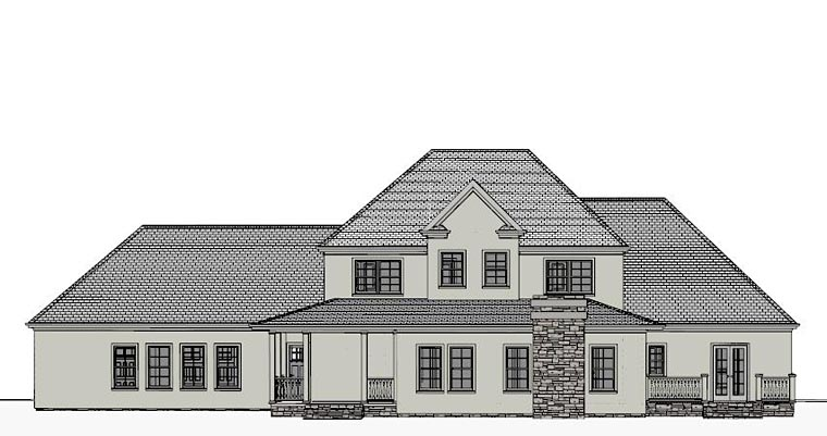 Colonial European Southern Traditional House Plan 40505 Rear Elevation