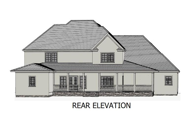 Colonial Country Southern Traditional House Plan 40506 Rear Elevation