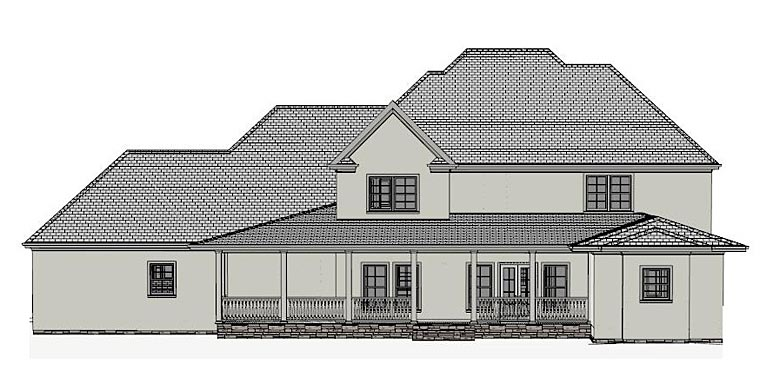 Colonial Country European Southern House Plan 40507 Rear Elevation