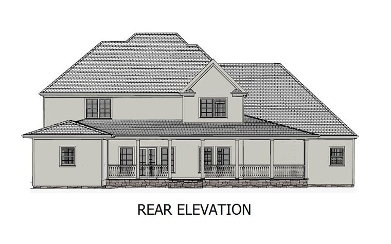 European Southern Traditional House Plan 40520 Rear Elevation