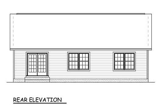 Country, Ranch, Traditional House Plan 40600 with 3 Beds, 2 Baths, 1 Car Garage Rear Elevation