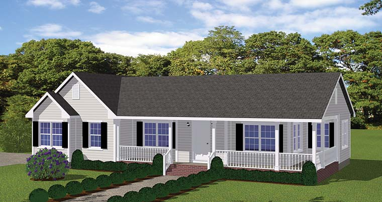 Country, Ranch, Southern, Traditional House Plan 40610 with 2 Beds, 2 Baths, 2 Car Garage Elevation