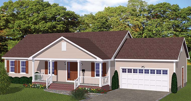 Country, Ranch, Traditional House Plan 40627 with 3 Beds, 2 Baths, 2 Car Garage Elevation