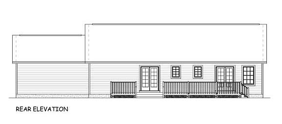 Country, Ranch, Traditional House Plan 40627 with 3 Beds, 2 Baths, 2 Car Garage Rear Elevation