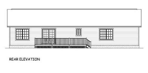 Ranch Southern Traditional House Plan 40640 Rear Elevation