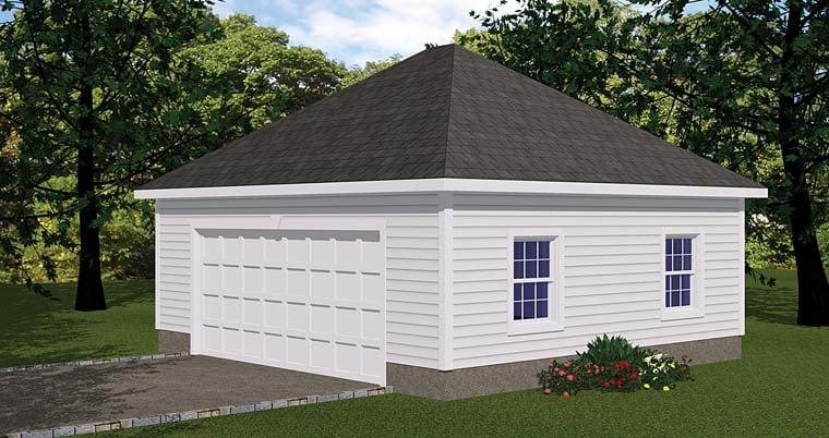 1 Car Garage Plan 40656 Elevation