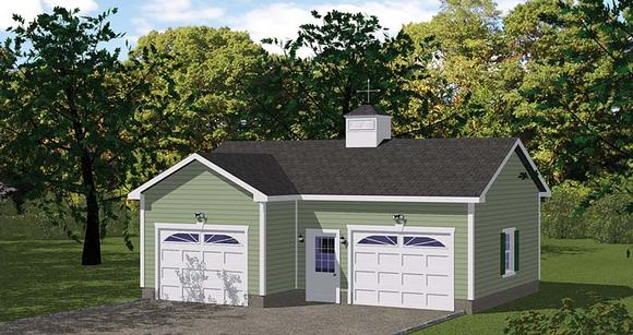 Traditional 2 Car Garage Plan 40658 Elevation