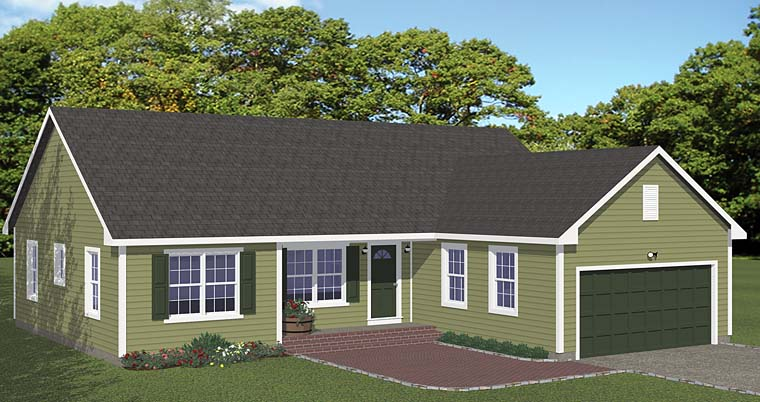 Traditional Style House Plan 40677 With 3 Bed 2 Bath 2 Car Garage