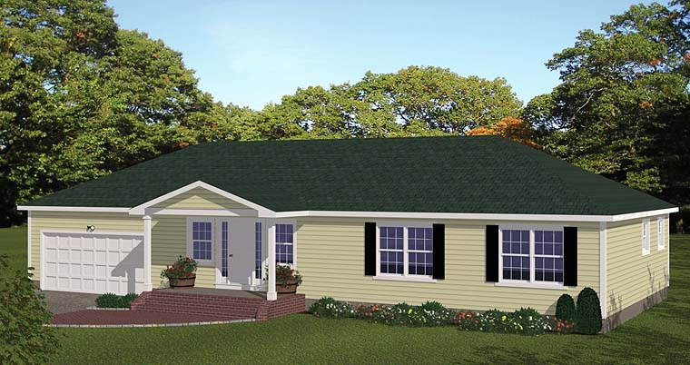 Ranch House Plan 40680 with 3 Beds, 2 Baths, 2 Car Garage Elevation