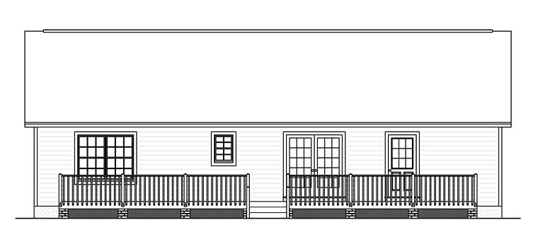 Country, Ranch, Southern House Plan 40683 with 3 Beds, 2 Baths Rear Elevation