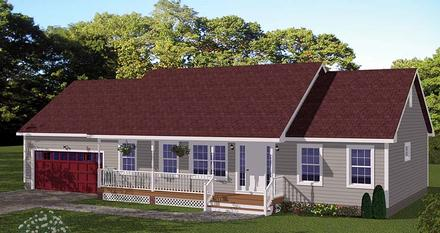 Country Ranch Traditional Elevation of Plan 40684