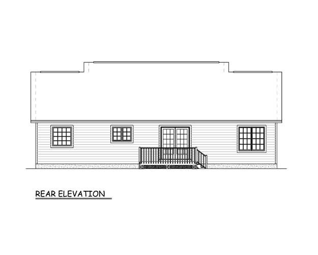 Country Ranch Rear Elevation of Plan 40686