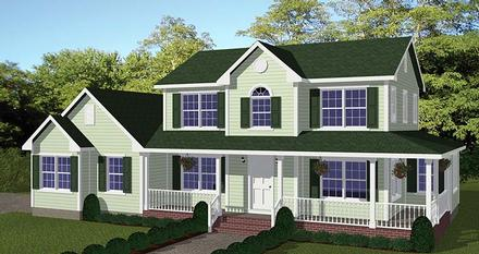 Country Farmhouse Southern Elevation of Plan 40687