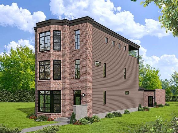 Contemporary, European, Greek Revival, Modern House Plan 40809 with 3 Beds, 4 Baths Elevation