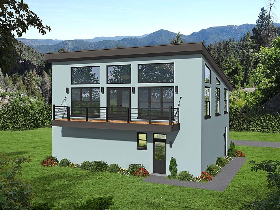 Contemporary, Modern House Plan 40817 with 1 Beds, 2 Baths, 3 Car Garage Elevation