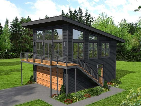 Contemporary, Modern Garage-Living Plan 40823 with 1 Beds, 1 Baths, 2 Car Garage Elevation