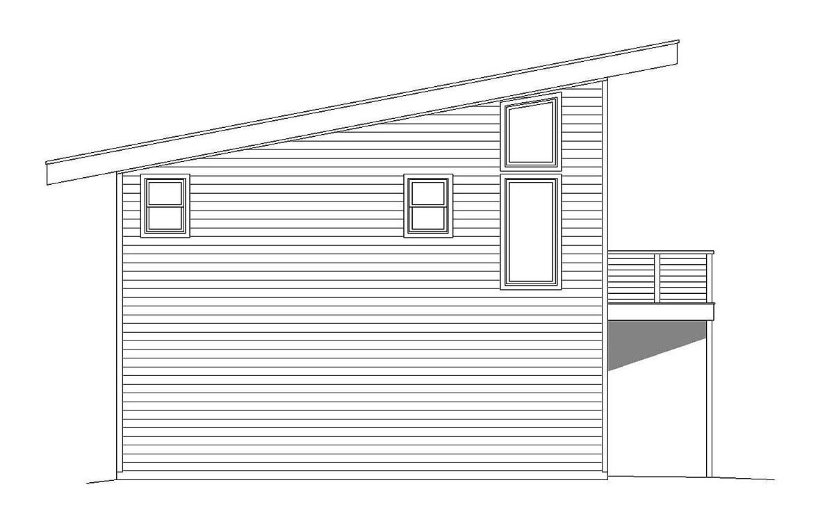 Contemporary, Modern Garage-Living Plan 40823 with 1 Beds, 1 Baths, 2 Car Garage Picture 2