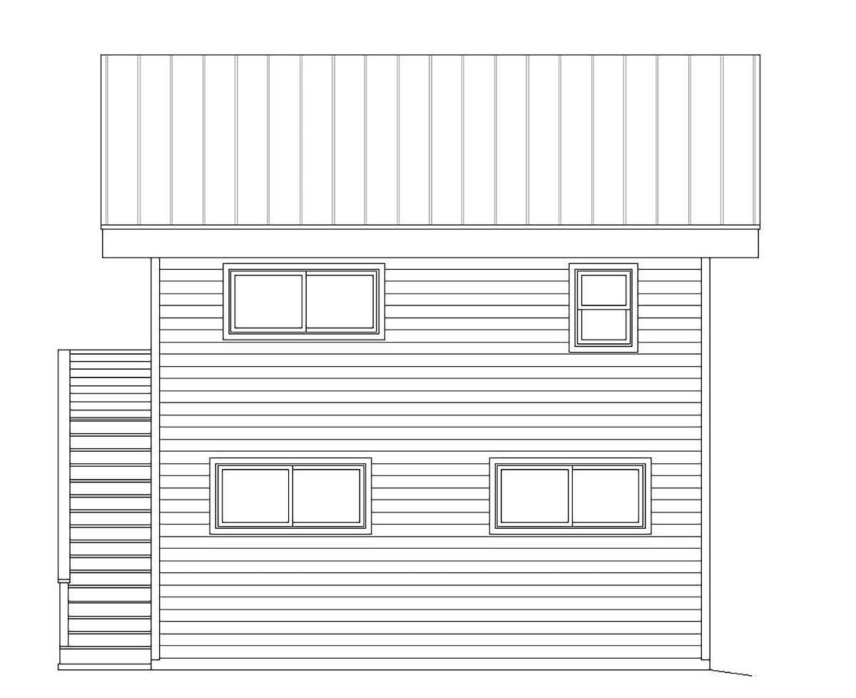 Contemporary Modern Rear Elevation of Plan 40823