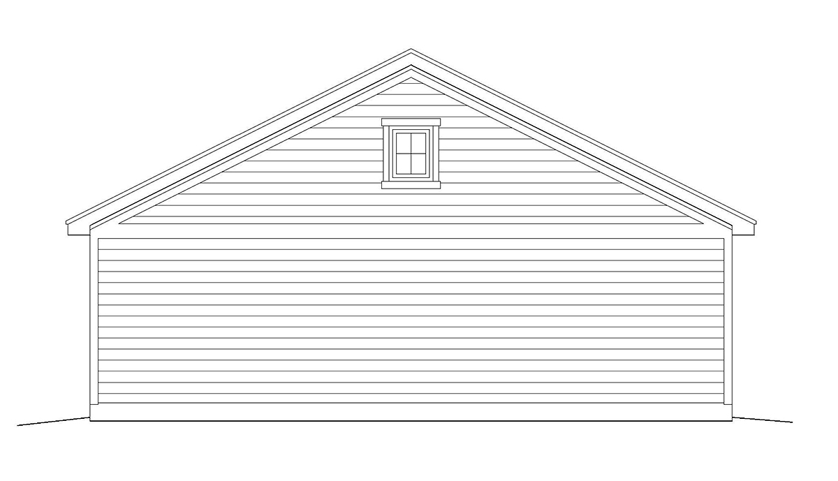 Cottage, Country, Ranch, Traditional 2 Car Garage Plan 40832 Rear Elevation