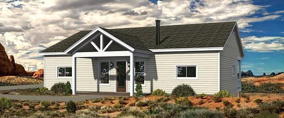 Bungalow, Cabin, Cottage House Plan 40848 with 2 Beds, 2 Baths Elevation