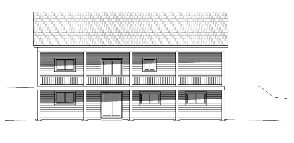 Bungalow, Cabin, Cottage House Plan 40848 with 2 Beds, 2 Baths Rear Elevation