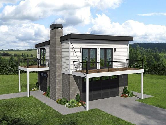 Coastal, Contemporary, Modern Garage-Living Plan 40862 with 1 Beds, 1 Baths, 2 Car Garage Elevation