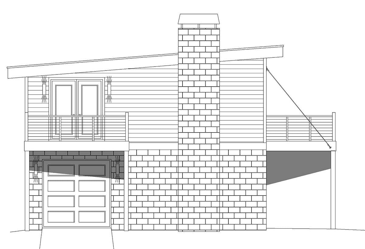 Coastal, Contemporary, Modern Garage-Living Plan 40862 with 1 Beds, 1 Baths, 2 Car Garage Picture 2