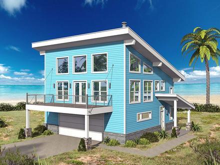 Coastal Contemporary Modern Elevation of Plan 40863