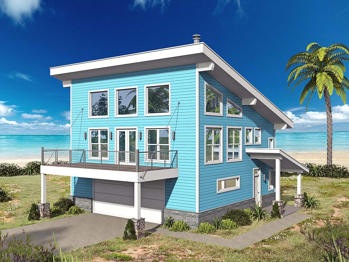 Coastal, Contemporary, Modern Garage-Living Plan 40863 with 2 Beds, 2 Baths, 2 Car Garage Elevation