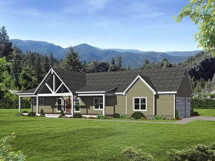Country, Farmhouse, Ranch House Plan 40864 with 2 Beds, 2 Baths