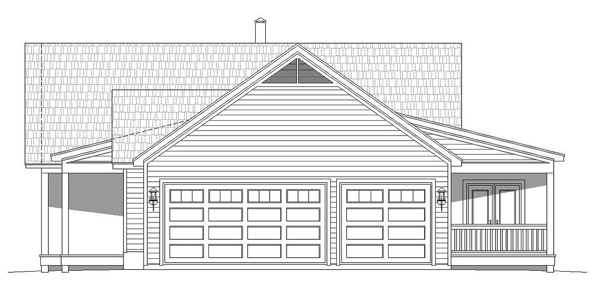 Country, Farmhouse, Ranch House Plan 40866 with 2 Beds, 2 Baths, 3 Car Garage Picture 1