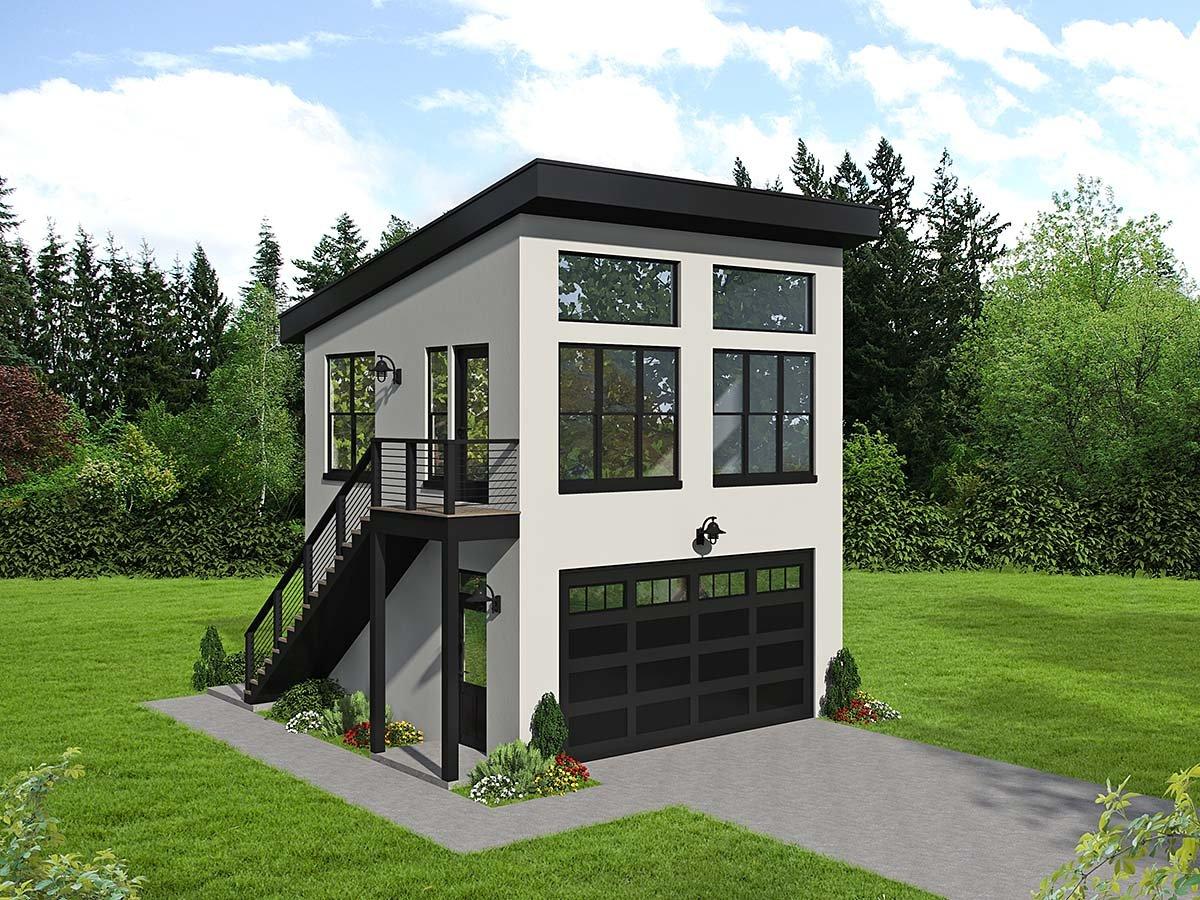 Contemporary, Modern 2 Car Garage Plan 40867 Elevation