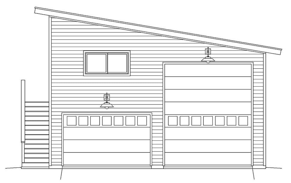Contemporary, Modern Garage-Living Plan 40869, 2 Car Garage Picture 3