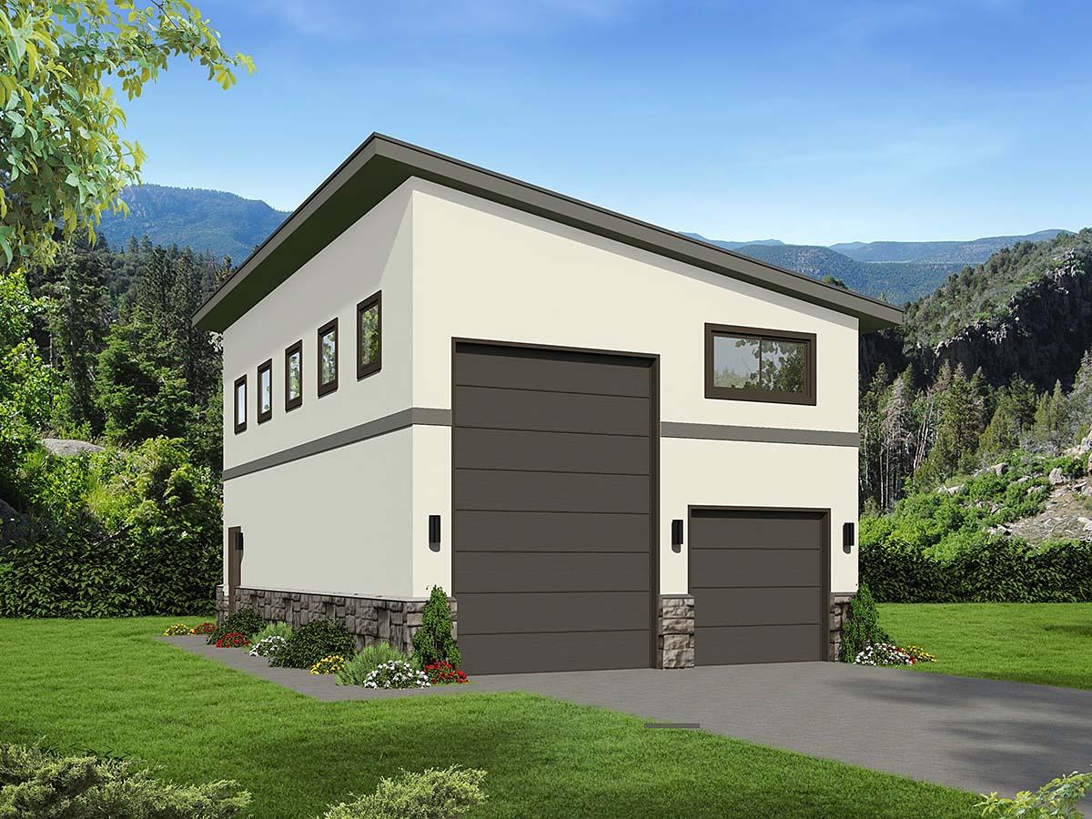 Contemporary, Modern 2 Car Garage Plan 40870, RV Storage Elevation