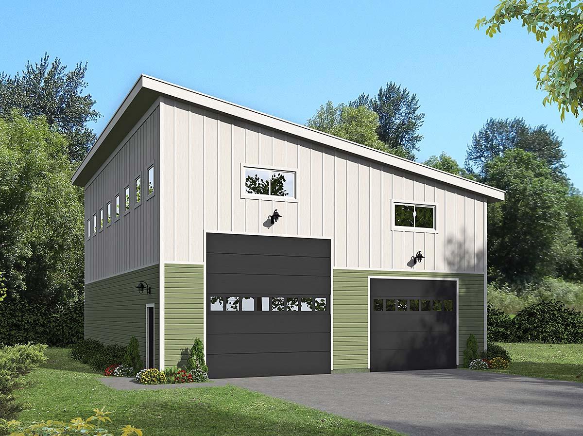 Contemporary, Modern 2 Car Garage Plan 40874 Elevation