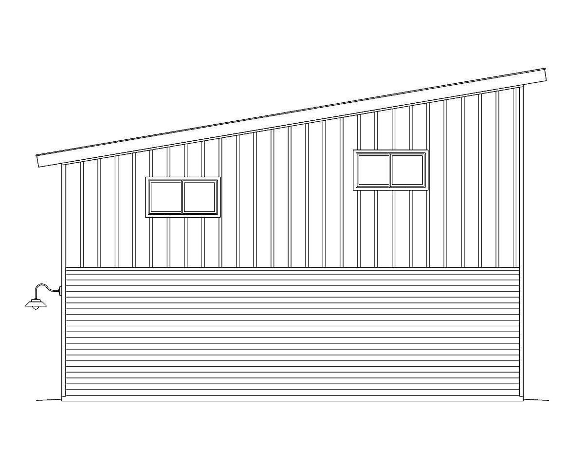 Contemporary, Modern 2 Car Garage Plan 40874 Rear Elevation