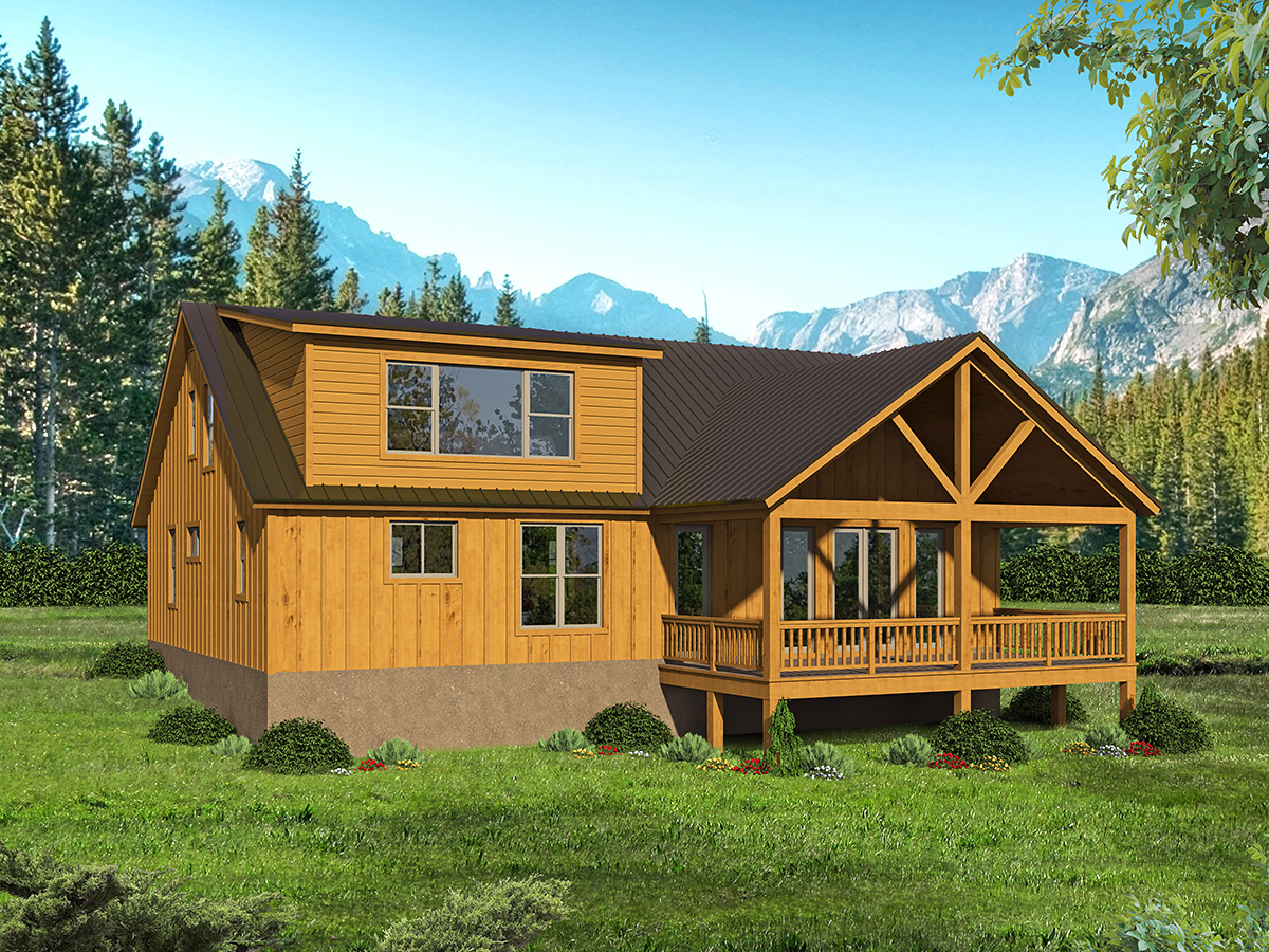 Cabin, Country, Log House Plan 40877 with 3 Beds, 3 Baths Rear Elevation