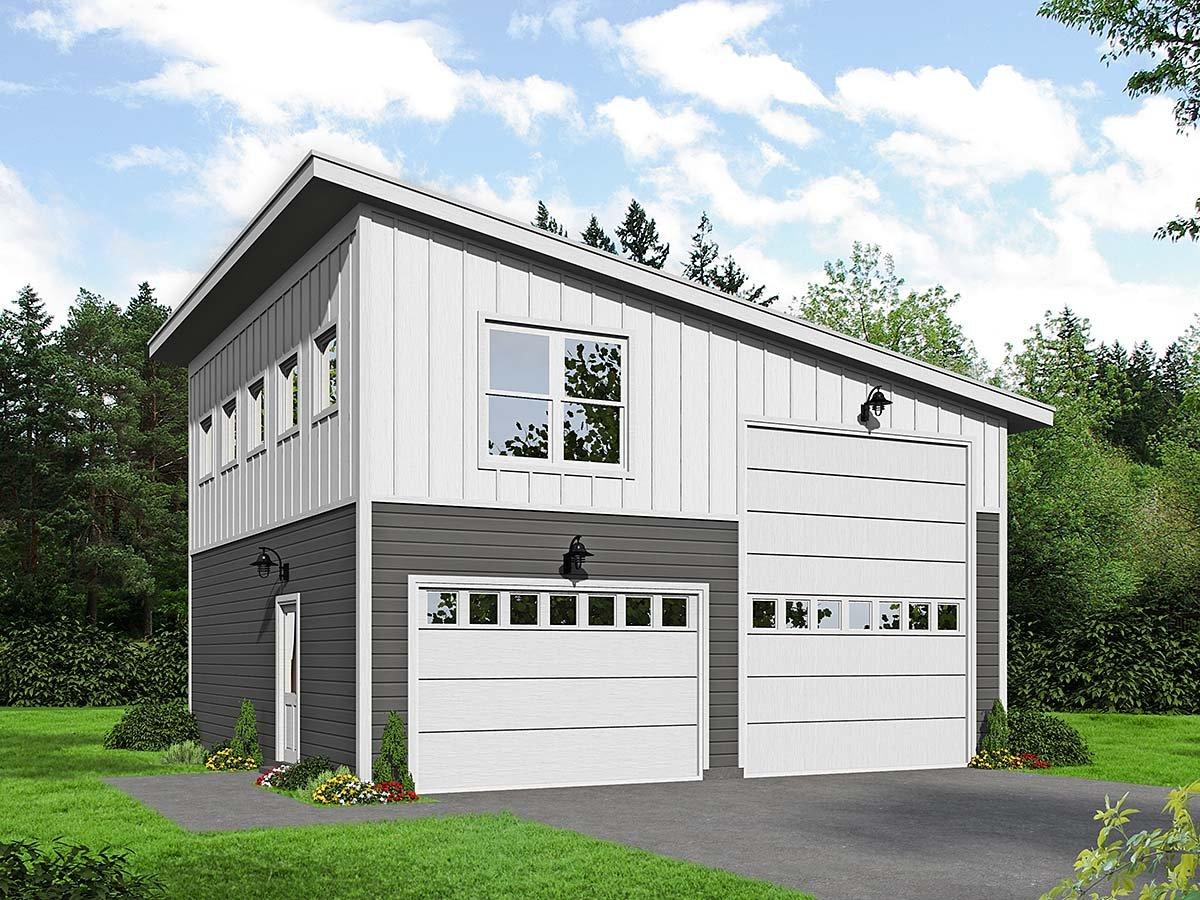 Contemporary, Modern 2 Car Garage Plan 40878, RV Storage Elevation