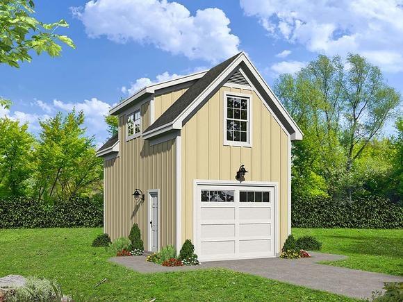 Contemporary, Country 1 Car Garage Plan 40879 Elevation