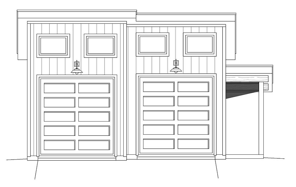 Contemporary, Modern 2 Car Garage Plan 40880 Picture 3