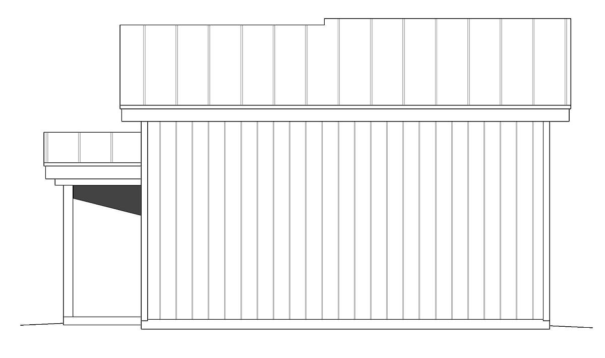 Contemporary, Modern 2 Car Garage Plan 40880 Rear Elevation