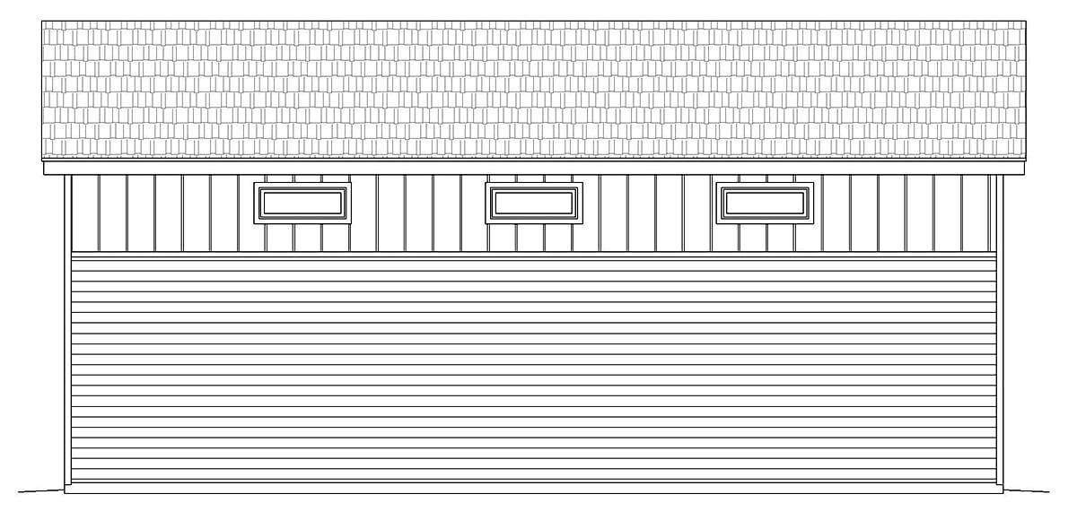 Contemporary, Modern 3 Car Garage Plan 40881, RV Storage Rear Elevation