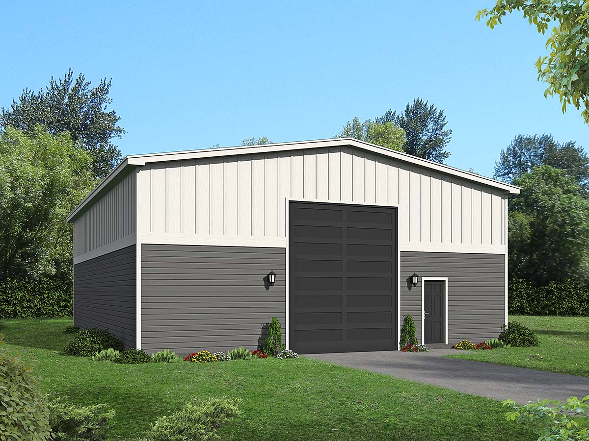 Country, Farmhouse, Traditional 1 Car Garage Plan 40882, RV Storage Elevation