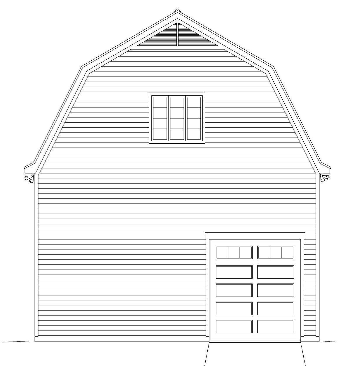 Cottage, Country 4 Car Garage Plan 40885 Rear Elevation